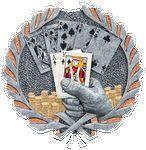 Custom Texas Hold-em Plaque Mount - Antique Silver & Full Color 3-1/2