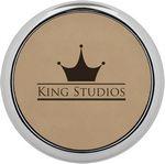 Custom Round Coaster Single - Light Brown - Leatherette