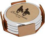 Custom Round Coaster Set - Dark Brown - Leatherette