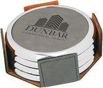Custom Round Coaster Set - Gray - Leatherette