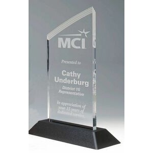 "Clear Frosted Deco Pop-In Acrylic Award w/ Slanted Top - 3""x6"" SPECIAL PRICES - LIMITED TIME"