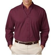UltraClub Embroidered Men's Long Sleeve Shirt w/ Pocket
