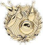 Custom Bowling - Wreath Gold Plaque Mount - 4