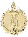 Custom Victory Torch - Wreath Gold Plaque Mount -3-1/4