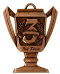 Custom Third Place, Trophy Shaped, Medal - 2-3/4