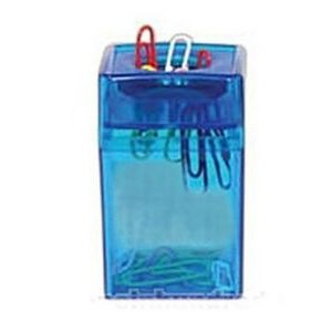 Paper Clip Dispenser Square - Transparent Blue