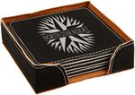 Custom Coaster Set - Leatherette - Black/Engraves Silver