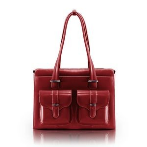 "14"" McKlein® USA Alexis Red Leather Ladies' Briefcase"