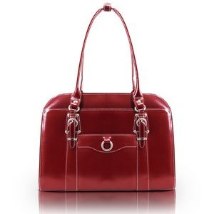 "14"" McKlein® USA Hillside Red Leather Ladies' Briefcase"