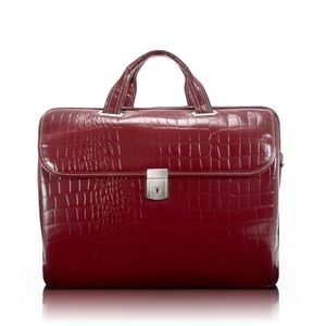 "15"" Siamod Settembre Cherry Red Leather Medium Ladies' Laptop Brief"