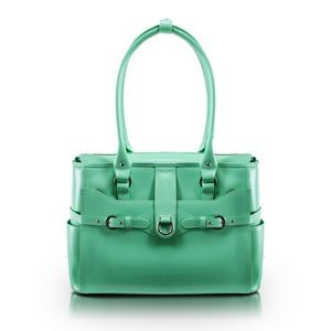 "15"" McKlein® USA Willow Springs Mint Green Leather Ladies' Briefcase"