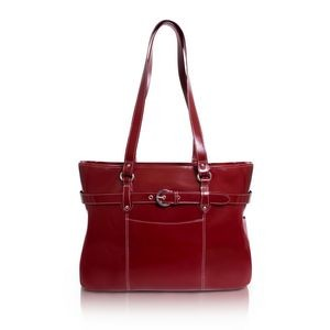 "15"" McKlein Serra Red Leather Ladies' Laptop Tote Briefcase"