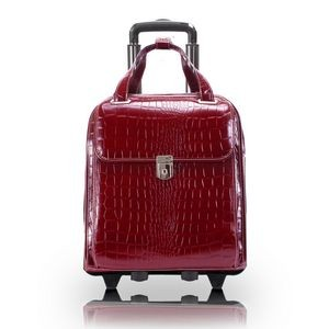 "15"" Siamod Novembre Cherry Red Leather Ladies' Wheeled Laptop Case"