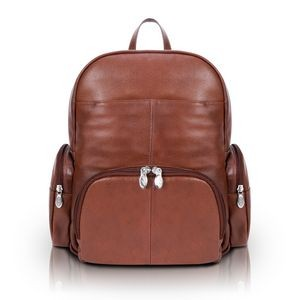 "15"" Brown McKlein S Series Cumberland Leather Dual Compartment Laptop Backpack"