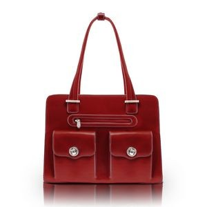 "15"" McKlein® USA Verona Red Leather Checkpoint-Friendly Ladies' Briefcase"
