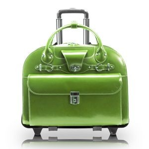"15"" McKlein® USA Roseville Green Leather Checkpoint-Friendly Wheeled Case"