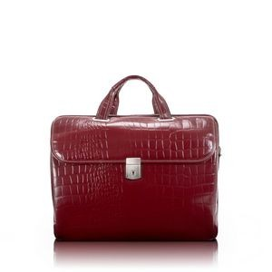 "13"" Siamod Servano Cherry Red Leather Small Ladies' Laptop Briefcase"