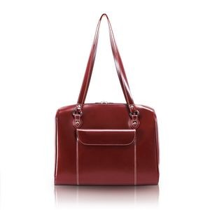 "15"" McKlein® USA Glenview Red Leather Ladies' Laptop Case"