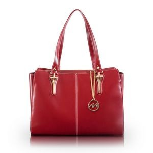 McKlein® USA Glenna Red Leather Shoulder Tote Bag