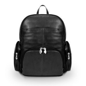 "15"" Black McKlein S Series Cumberland Leather Dual Compartment Laptop Backpack"