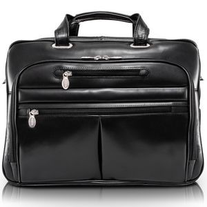 "15"" Black McKleinUSA Rockford Leather Checkpoint-Friendly Laptop Case"