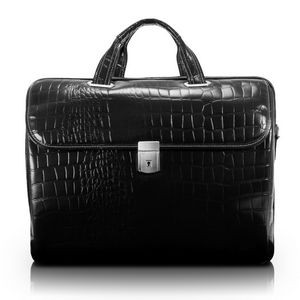 "17"" Siamod Ignoto Black Leather Large Ladies' Laptop Brief"