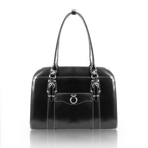 "14"" McKlein® USA Hillside Black Leather Ladies' Briefcase"