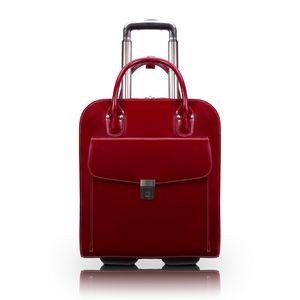 "15"" McKlein® USA Red Uptown Leather Vertical Wheeled Ladies' Laptop Briefcase"