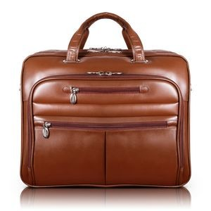 "15"" Brown McKleinUSA Rockford Leather Checkpoint-Friendly Laptop Case"