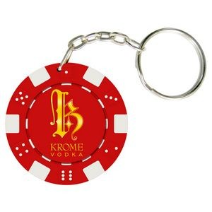 Dice Style Poker Chip Keychain (10 Colors) Fast Turn 3-5 Days! No Minimums (1 Side Imprint)