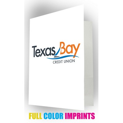 POCKET FOLDER w/ 3 Full Color Imprint Spaces, Glossy Finish & Business Card Slot FREE SETUP!!