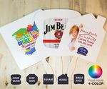 Custom HAND FAN Pricing Includes 4-Color Imprint, Gloss Laminate, 1-Side w/ Glued Wooden Handle HAND FAN