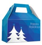 Custom HOLIDAY GIFT BOX - Free Full Color Logo Drop, Gable Style w/ Handle (Blue Prism) Changeable Text