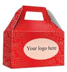 Custom HOLIDAY GIFT BOX - Free Full Color Logo Drop, Gable Style w/ Handle (Happy Holidays) Changeable Text