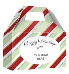 Custom HOLIDAY GIFT BOX - Free Full Color Logo Drop, Gable Style w/ Handle (Candy Stripes) Changeable Text