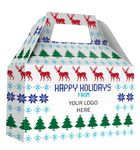 Custom HOLIDAY GIFT BOX - Free Full Color Logo Drop, Gable Style w/ Handle (Sweater) Changeable Salutation