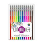 Custom 12 Pack of Gel Writers Extra Fine Point Gel Pens in Clear Plastic Box