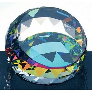 Corporate Minutes Dichroic Coated Round Paperweight - Optic Crystal