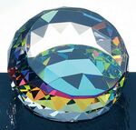 Custom Corporate Minutes Dichroic Coated Round Paperweight - Optic Crystal