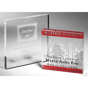 "Letterman Clear Square Paperweight - Acrylic (4""x4""x3/8"")"