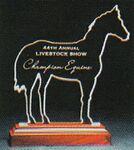 Custom Racetrack Choice Horse Award on a Rosewood Base - Acrylic (9 1/4