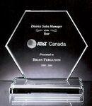 Custom Hilton Hexagon Award - Jade Glass (4 3/8
