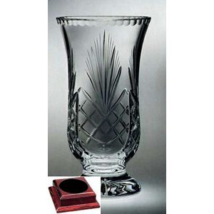 "Raleigh Florero Vase on Rosewood Base - Lead Crystal (12 3/4""x7""x7"")"