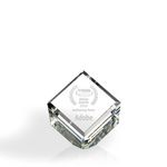 Custom Standing Beveled Diamond Cube Award - Optic Crystal (4 1/8