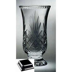 "Raleigh Florero Vase on Black Base - Lead Crystal (12 3/4""x7""x7"")"