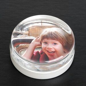 Photograph Circle Paperweight - Molded Glass