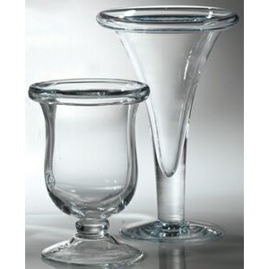 Hurricane Vase with Rolled Edge. Premium Glass.