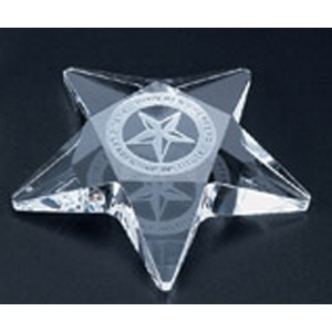 Pentagon Star Paperweight - Optic Crystal