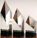 Custom Master Diamond Pillar Award on Black Base - Optic Crystal (9 1/2