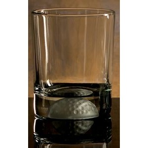 Golfer's Double Old Fashion Glass. Etched Golf Ball on bottom of glass.
